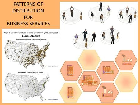 PATTERNS OF DISTRIBUTION FOR BUSINESS SERVICES. GROUNDING Rather than distribute themselves in a regular pattern like consumer services do, BUSINESS SERVICES.