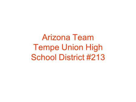 Arizona Team Tempe Union High School District #213.