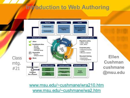 Introduction to Web Authoring Ellen Cushman   Class mtg. #21.