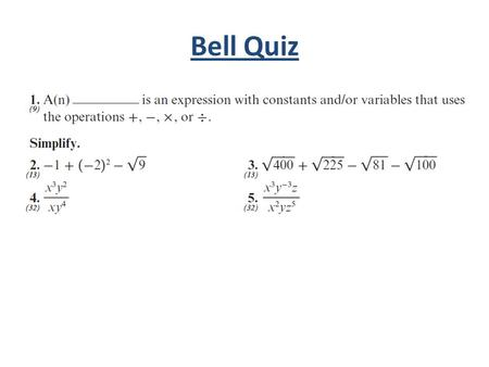 Bell Quiz. Objectives Translate between words and inequalities.