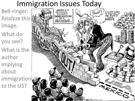 Bell-ringer: Analyze this image. What do you see? What is the author implying about immigration to the US? Immigration Issues Today.