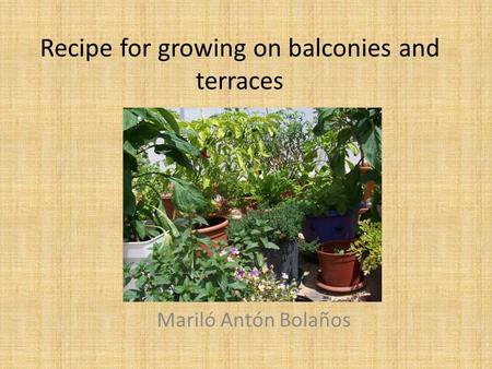 Recipe for growing on balconies and terraces Mariló Antón Bolaños.