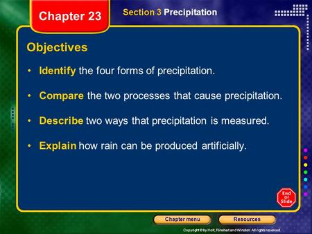 Copyright © by Holt, Rinehart and Winston. All rights reserved. ResourcesChapter menu Section 3 Precipitation Chapter 23 Objectives Identify the four forms.