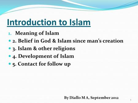 Introduction to Islam Meaning of Islam