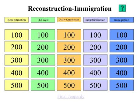 Reconstruction-Immigration 100 200 300 400 500 100 200 300 400 500 100 200 300 400 500 100 200 300 400 500 100 200 300 400 500 ReconstructionThe West.