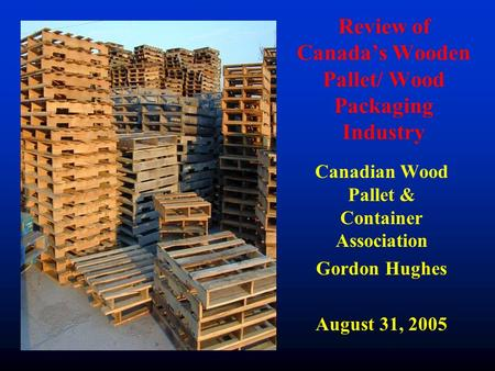 Review of Canada's Wooden Pallet/ Wood Packaging Industry Canadian Wood Pallet & Container Association Gordon Hughes August 31, 2005.