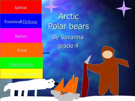 Arctic Polar bears By Savanna grade 4 habitat Enemies&Defense Babies Food Characteristic Where I got my Information.