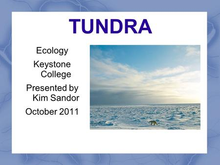 TUNDRA Ecology Keystone College Presented by Kim Sandor October 2011.