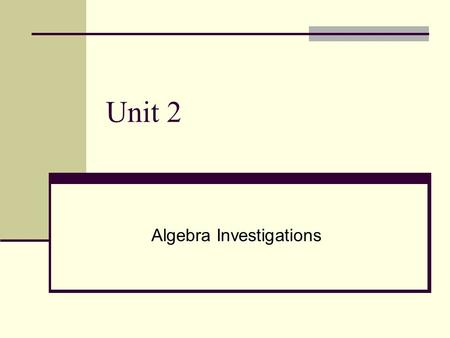 Unit 2 Algebra Investigations. Standards MM1A2. Students will simplify and operate with radical expressions, polynomials, and rational expressions. Add,