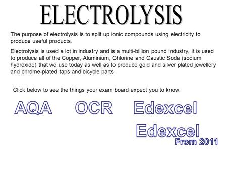 The purpose of electrolysis is to split up ionic compounds using electricity to produce useful products. Electrolysis is used a lot in industry and is.