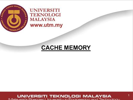 1 CACHE MEMORY 1. 2 Cache Memory ■ Small amount of fast memory, expensive memory ■ Sits between normal main memory (slower) and CPU ■ May be located on.