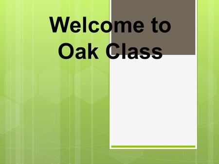 Welcome to Oak Class. The Year One Team  Mr Hayward-Mitchell  Miss Smith – Trainee Teacher  Mrs Bailey – Class TA  Mrs Jacques-Tolley – After Xmas.