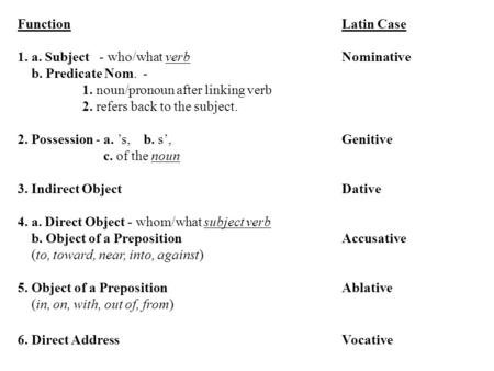 Function Latin Case 1. a. Subject - who/what verbNominative b. Predicate Nom. - 1. noun/pronoun after linking verb 2. refers back to the subject. 2. Possession.