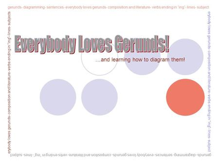 "gerunds- diagramming- sentences- everybody loves gerunds- composition and literature- verbs ending in ""ing""- lines- subject erybody loves gerunds- composition."