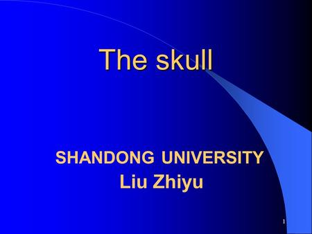 The skull SHANDONG UNIVERSITY Liu Zhiyu