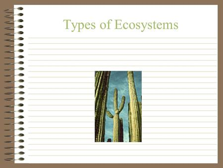 Types of Ecosystems. Review Abiotic + Biotic = Ecosystem Producers = plants (make their own food) Consumers = organisms that eat producers Decomposers.