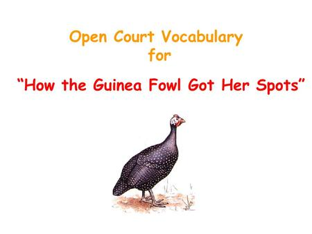 "Open Court Vocabulary for ""How the Guinea Fowl Got Her Spots"""