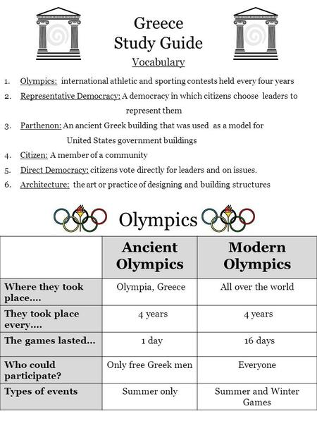 Vocabulary Greece Study Guide 1.Olympics: international athletic and sporting contests held every four years 2.Representative Democracy: A democracy in.