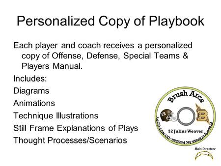 Personalized Copy of Playbook Each player and coach receives a personalized copy of Offense, Defense, Special Teams & Players Manual. Includes: Diagrams.