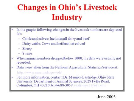Changes in Ohio's Livestock Industry In the graphs following, changes in the livestock numbers are depicted for: –Cattle and calves: Includes all dairy.