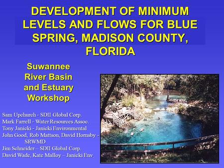 DEVELOPMENT OF MINIMUM LEVELS AND FLOWS FOR BLUE SPRING, MADISON COUNTY, FLORIDA Suwannee River Basin and Estuary Workshop Sam Upchurch - SDII Global Corp.
