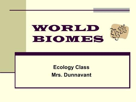 WORLD BIOMES Ecology Class Mrs. Dunnavant World Biomes Background: All of the livable space on the Earth makes up the biosphere. A biome is defines as.