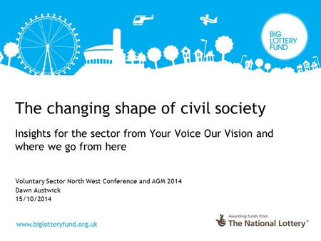 The changing shape of civil society Insights for the sector from Your Voice Our Vision and where we go from here Voluntary Sector North West Conference.