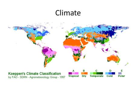 Climate. What is climate? Long term weather pattern. Determined by – Latitude – Precipitation.