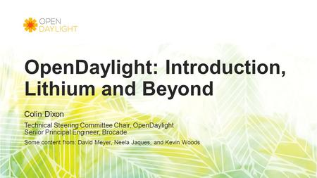 OpenDaylight: Introduction, Lithium and Beyond Colin Dixon Technical Steering Committee Chair, OpenDaylight Senior Principal Engineer, Brocade Some content.