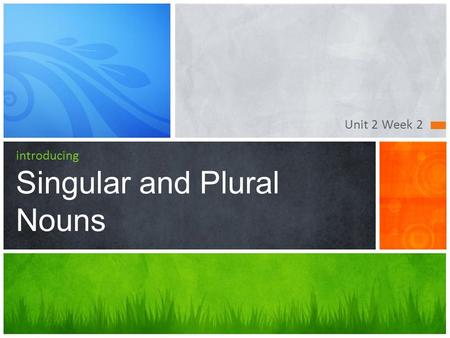 Unit 2 Week 2 introducing Singular and Plural Nouns.