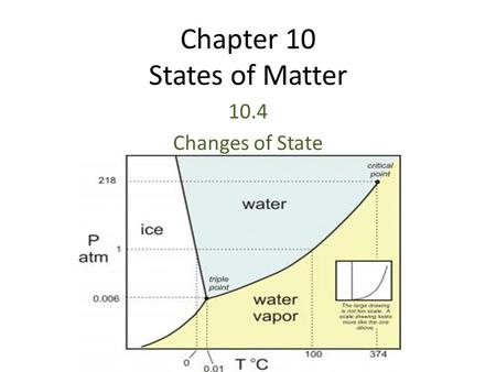 Chapter 10 States of Matter 10.4 Changes of State.