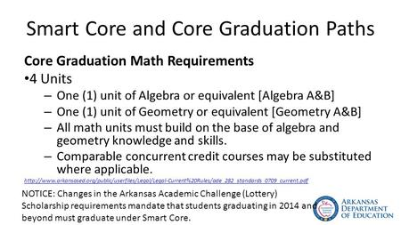 Smart Core and Core Graduation Paths Core Graduation Math Requirements 4 Units – One (1) unit of Algebra or equivalent [Algebra A&B] – One (1) unit of.