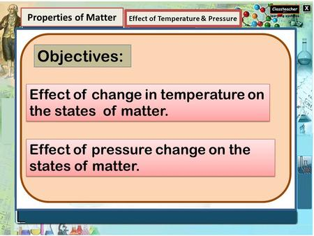 Element Properties of Matter Objectives: Effect of change in temperature on the states of matter. Effect of pressure change on the states of matter. Effect.