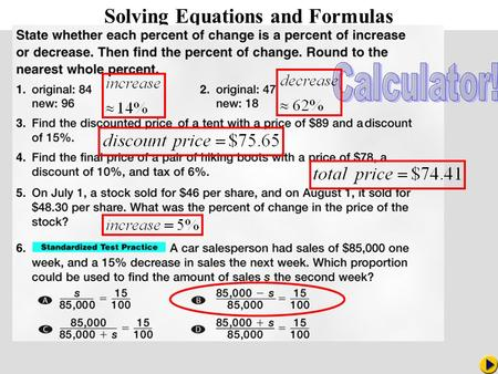 Math Pacing Solving Equations and Formulas. Some equations such as the one on the previous slide contain more than one variable. At times, you will.