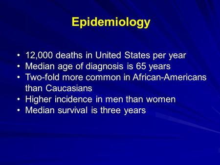 Epidemiology 12,000 deaths in United States per year