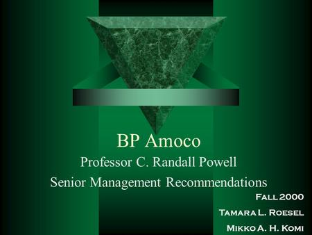 BP Amoco Professor C. Randall Powell Senior Management Recommendations Fall 2000 Tamara L. Roesel Mikko A. H. Komi.