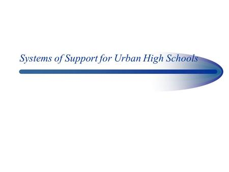 Systems of Support for Urban High Schools. Key Role of Large Urban Districts There are approximately 17,000 school districts in the US Approximately 66.
