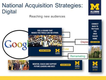 Reaching new audiences Search YouTube Display Remarketing National Acquisition Strategies: Digital.