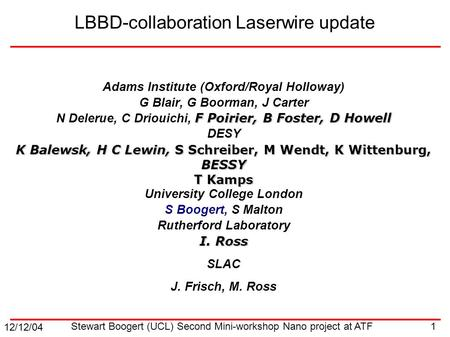 12/12/04 1 Stewart Boogert (UCL) Second Mini-workshop Nano project at ATF LBBD-collaboration Laserwire update Adams Institute (Oxford/Royal Holloway) G.
