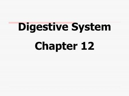 Digestive System Chapter 12. Alimentary Canal A muscular tube about 9 yards long which passes through the body's ventral cavity.