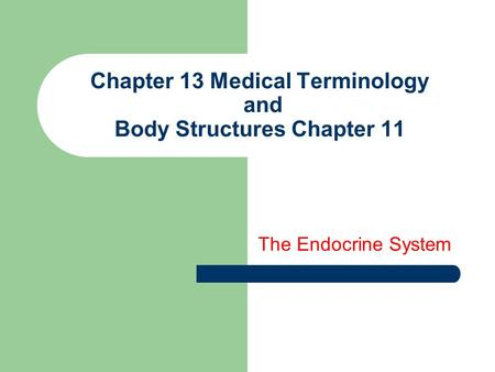 Chapter 13 Medical Terminology and Body Structures Chapter 11