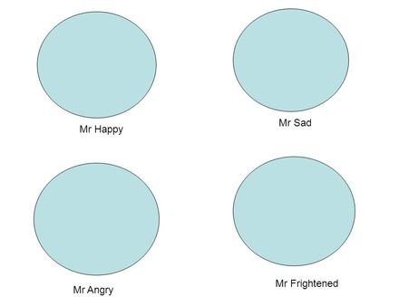Mr Sad Mr Happy Mr Frightened Mr Angry.