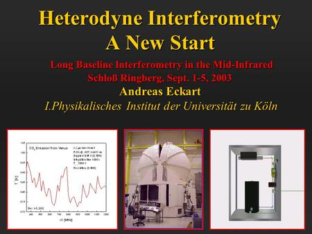 Heterodyne Interferometry A New Start Long Baseline Interferometry in the Mid-Infrared Schloß Ringberg, Sept. 1-5, 2003 Andreas Eckart I.Physikalisches.