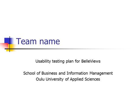 Team name Usability testing plan for BelleViews School of Business and Information Management Oulu University of Applied Sciences.