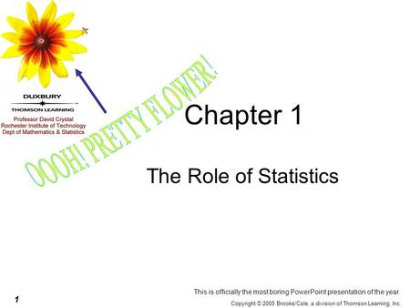 1 Copyright © 2005 Brooks/Cole, a division of Thomson Learning, Inc. Chapter 1 The Role of Statistics This is officially the most boring PowerPoint presentation.