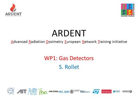 ARDENT Advanced Radiation Dosimetry European Network Training initiative WP1: Gas Detectors S. Rollet.