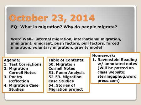 EQ- What is migration? Why do people migrate?