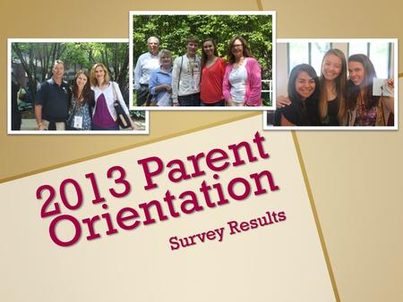 2013 Parent Orientation Survey Results. Parent Results Number of Invitees: 1663 Invitees that responded: 595 Invitee Response rate: 35% Average of no.