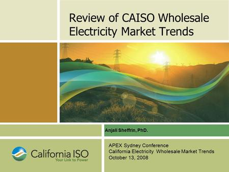 Review of CAISO Wholesale Electricity Market Trends APEX Sydney Conference California Electricity Wholesale Market Trends October 13, 2008 Anjali Sheffrin,
