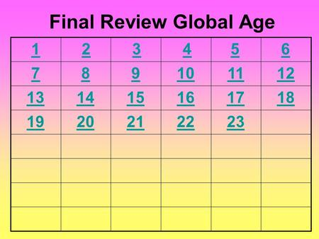 6 789101112 131415161718 1920212223 Final Review Global Age 54321.